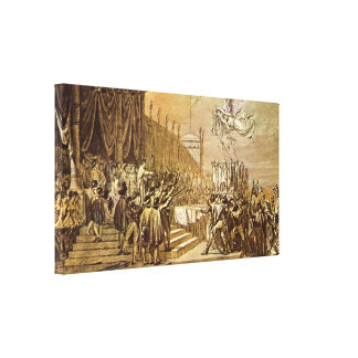 Jacques-Louis David - Distribution of the Eagle Stretched Canvas Prints