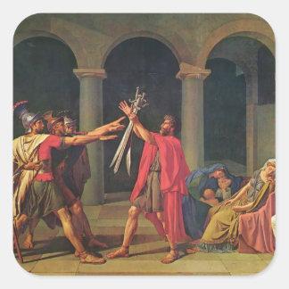 Jacques-Louis David el juramento de Horatii Pegatina Cuadrada
