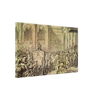 Jacques-Louis David - Napoleons arrival Stretched Canvas Prints