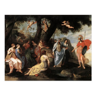 Jacques Stella- Minerva with the Muses Postcard