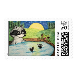 Jacuzzi Time Raccoon and Frog Stamp