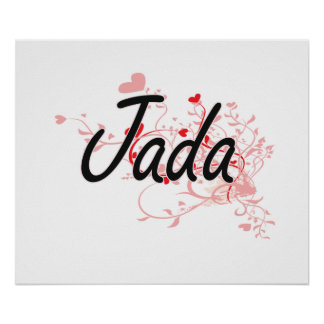Jada Artistic Name Design with Hearts Poster