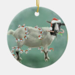 Jada The Goat, Christmas Double-Sided Ceramic Round Christmas Ornament