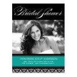 Jade and Black Damask Bridal Shower Invites Postcard