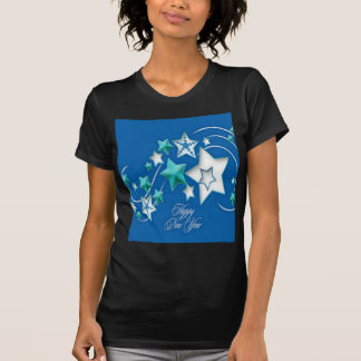 Jade and Blue Happy New Year Shooting Stars T-Shirt