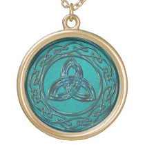 Jade and Copper Celtic Wheel and Trinity Knot