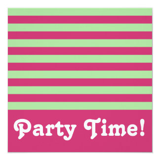 Jade and Fuchsia Stripes Square Party Time Invitation
