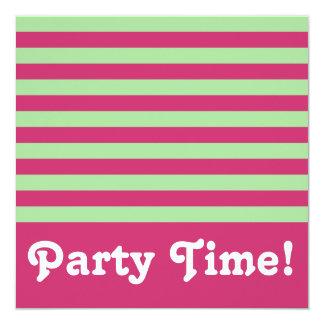 Jade and Fuchsia Stripes Square Party Time 5.25x5.25 Square Paper Invitation Card
