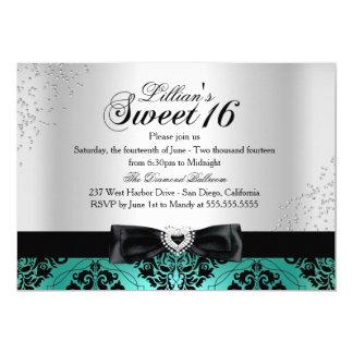 Jade Black Damask Sparkle Sweet 16 Invite