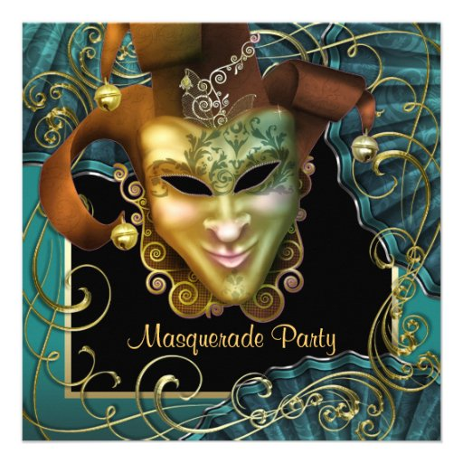 Jade Black Gold Masquerade Party Invitations