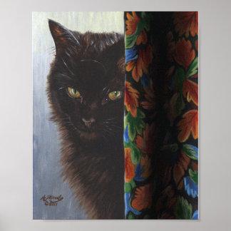 Jade Black Kitty Cat by ArtByAkiko Poster