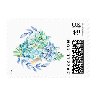 Jade, Blue, Gold Succulents and Palms Postage