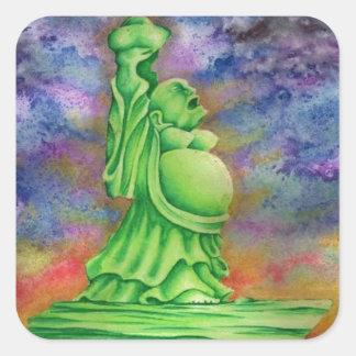 Jade Buddha Square Sticker