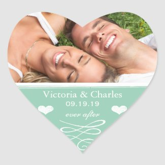 Jade Chalkboard Wedding Save the Date Seal Heart Sticker