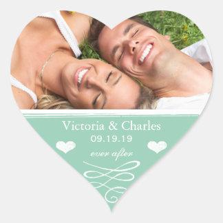 Jade Chalkboard Wedding Save the Date Seal Heart Sticker
