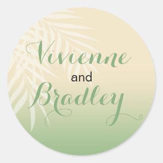 Jade del boda de playa de la brisa del verano el   pegatina redonda