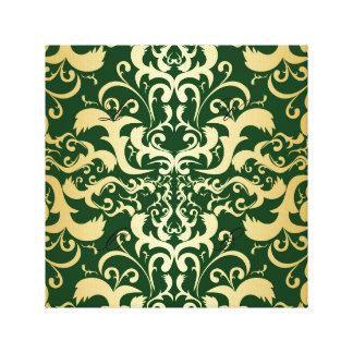 jade, falso oro, damascos, vintage, antigüedad, impresión en lienzo