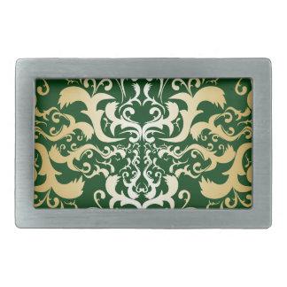 jade,faux gold,damasks,vintage,antique,pattern,chi rectangular belt buckle