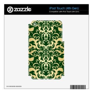 jade,faux gold,damasks,vintage,antique,pattern,chi skins for iPod touch 4G