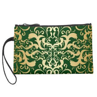 jade,faux gold,damasks,vintage,antique,pattern,chi suede wristlet wallet