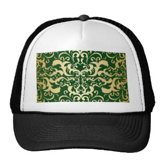 jade,faux gold,damasks,vintage,antique,pattern,chi trucker hat