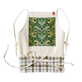 jade,faux gold,damasks,vintage,antique,pattern,chi zazzle HEART apron