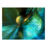 Jade Flower Abstract Poster