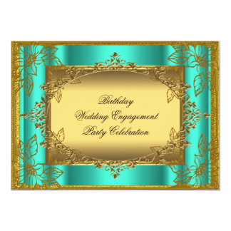 Jade Gold Birthday Wedding Engagement TEMPLATE 5x7 Paper Invitation Card