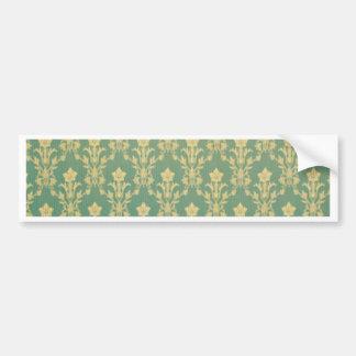 Jade golden vintage damask wood wall antique chic car bumper sticker