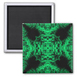 Jade Green and Black Elegant Pattern. Magnets