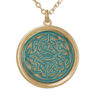 Jade Green and Gold Celtic Knot Necklace