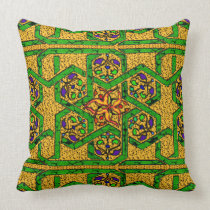 Jade Green and Gold knot work Throw Pillow