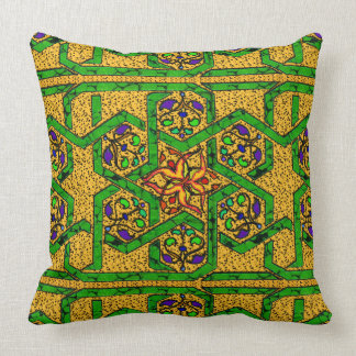 Jade Green and Gold knot work Throw Pillow