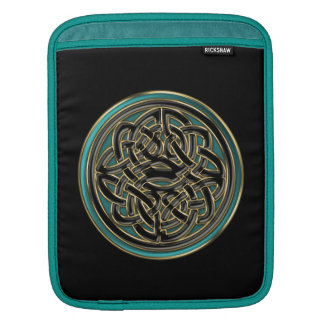 Jade Green and Metallic Gold Celtic Knot on Black Sleeve For iPads