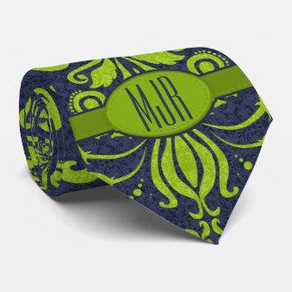 Jade Green and Navy Damask Swirl Monogram Tie