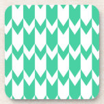 Jade Green and White Chevron Pattern. Coasters