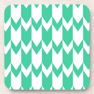 Jade Green and White Chevron Pattern. Drink Coaster