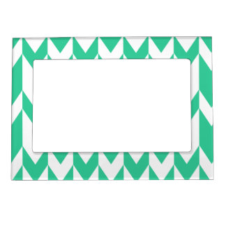 Jade Green and White Chevron Pattern. Magnetic Photo Frames