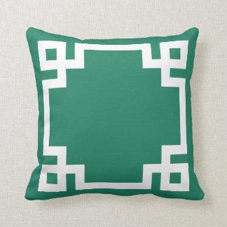 Jade Green and White Greek Key Border Pillows