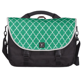 Jade Green And White Moroccan Trellis Pattern Commuter Bags