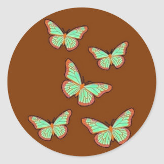Jade Green Butterflies Brown Gifts by Sharles Classic Round Sticker