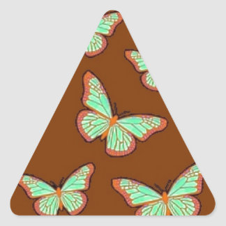 Jade Green Butterflies Brown Gifts by Sharles Triangle Sticker