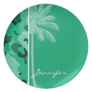 Jade Green Camo; Summer Palm Dinner Plate