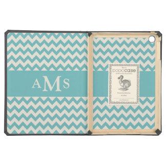 Jade Green Chevron Stripe 3  Monogram iPad Air Covers