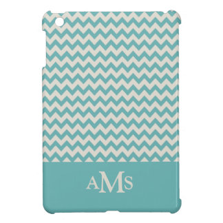 Jade Green Chevron Stripe 3  Monogram Case For The iPad Mini