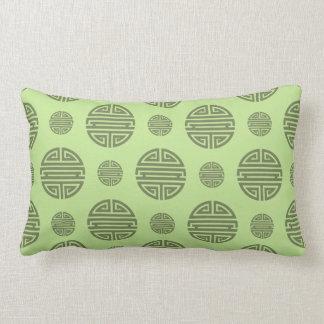 Jade Green Chinese Shou Character Pattern Pillows