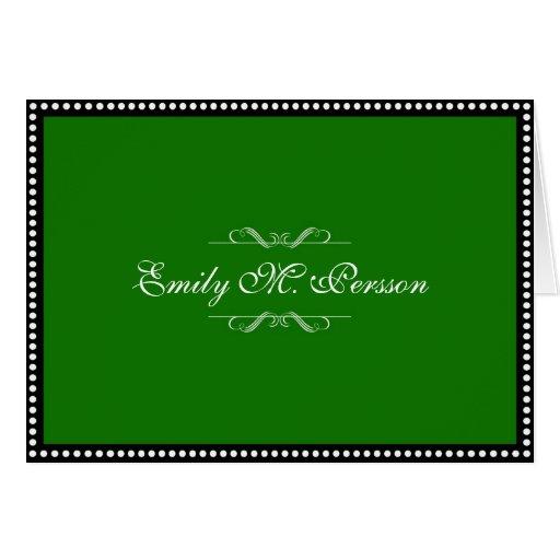 Jade green custom name personal blank note card