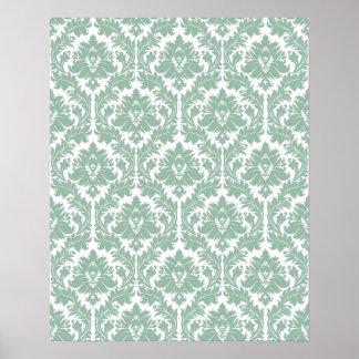 Jade Green Damask pattern Print