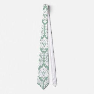Jade Green Damask Pattern Tie