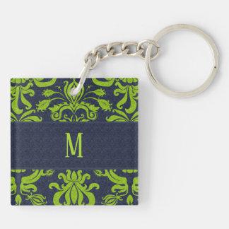 Jade Green Damask with Navy Blue Monogram Keychain